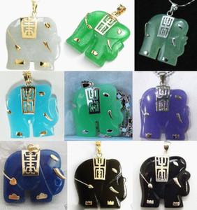 En gros pas cher 9 couleur - blanc / vert / violet / bleu / jade-noir agate éléphant pendentif