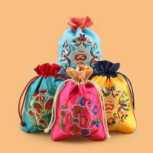 Patchwork Broderie floral Petit Emballage Sacs pour Bijoux Cadeau Sac Chinois Ethnique Cordon Satin Tissu Porte-Monnaie Pochette Spice Sachet