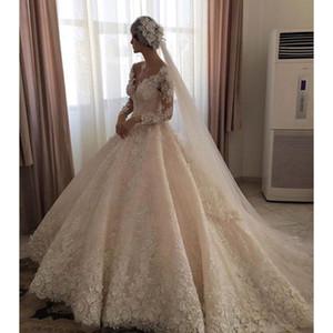 2017 Designer de Manga Longa Do Vintage Vestidos De Casamento Com Laço Da Frisada Vestidos De Noiva Frisado Vestidos De Dubai Novia Custom Made