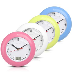 Vente en gros - Horloge murale Horloge murale Salle de bain Mur de douche Horloge analogique Affichage numérique de la température Résistant à l'eau avec ventouse 4 couleurs