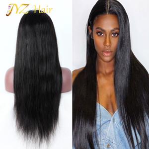 Jyz 130 Density Brazilian Virgin Virgin Human Straight Capelli di pizzo Parrucche Glueless Parrucca anteriore del merletto dei capelli umani per le donne nere Trasporto libero