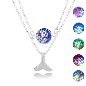 Hot Fashion Drusy Druzy Multistrato Collane Mermaid Fish Scale Fishtail Collana a pendente per le donne Lady Jewelry