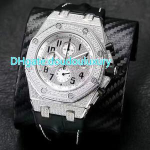 Montre de luxe pour montre de luxe en cuir noir avec bracelet en acier inoxydable OS chronographe