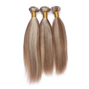 피아노 컬러 # 8 / 613 하이라이트 인간의 머리카락 번들 3 개 로트 스트레이트 라이트 브라운 금발 믹스 피아노 컬러 브라질 버진 헤어 Wefts