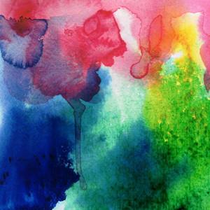 5x7ft Digital Vinyl Opaque Aquarelle Peinture Rouge Bleu Photographie fond de studio Backdrop