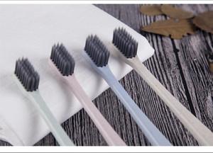 Nueva paja de trigo Japonés pequeña cabeza cepillo de dientes ambiental bambú carbón profunda limpia pareja cepillo de dientes cepillo de dientes portátil