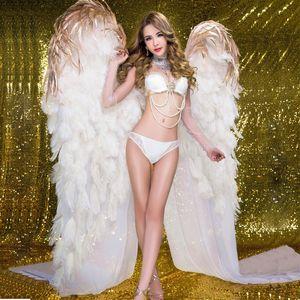 alta quaity luxo avestruz branco casa bar asas de anjo de penas Decoração do casamento DIY adereços bom tiro adereços EMS transporte livre