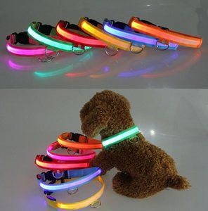 LED Nylon Pet Dog Collar Noite Segurança LED Light Flashing Glow no escuro Pequeno Dog Pet Coleira Dog Collar Flashing Safety Collar cor mix
