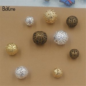 BoYuTe Beads Wholesale 100Pcs 3 Colors 10MM 12MM Hot sale Metal Brass Filigree Diy Beads for Jewelry Making