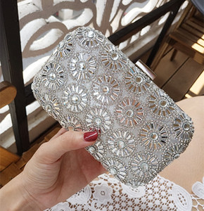 Bling Bling Silver Wedding Party Evening Bridal Hand Bags 2017 New Fashion Flap Short And Long Two Free Chain