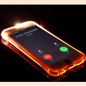 أحدث! TPU + PC LED فلاش لايت حتى حالة تذكير الواردة الغلاف دعوة لفون 12 11 XR X 8 8plus 7 سامسونج S10 10plus S9 مسح الجلد