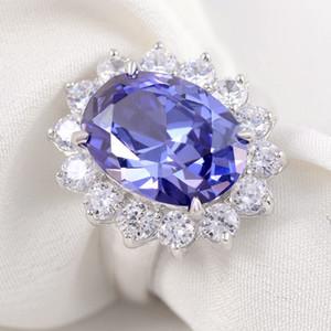 만든 6 캐럿 블루 Zoisite- 스톤 925 스털린 6 캐럿 만든 블루 Zoisiteg 실버 결혼 반지 패션 주얼리 액세서리 미국에서 배송