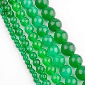 Nueva llegada 2015 Green Jade Spacer Beads para hacer la joyería 4MM 6MM 8MM 10MM 12 MM al por mayor