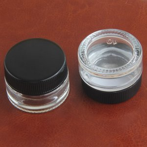 Nouvelle arrivée transparent Trempé 5ml Glass Container Dab cire concentré d'huile Hardened Pot en verre cosmétique de stockage de qualité alimentaire antiadhésifs