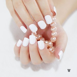 Wholesale-24 Hot Nail Refined Sugar Lovely Colors Fake Nails Middle Paragraph Shiny Surface Too White W