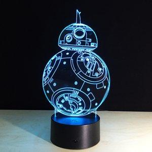 201 B88 Robot 3D Illusion Optique Lampe Veilleuse DC 5V USB Charge 5ème Batterie En Gros Dropshipping Livraison Gratuite