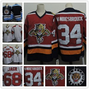 Customized Florida Panthers para hombre # 68 Jaromir Jagr Blanco Retro Azul Hockey # 34 John Vanbiesbrouck Red CCM vintage cosido Jerseys S, 4XL
