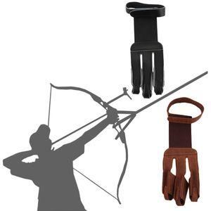 Стрельба из лука защиты перчатки 3 пальца тянуть лук стрелка кожаные перчатки Оптовая