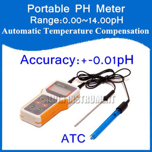 Wholesale- Free Shipping Microcomputer-based Portable Handheld PH Meter Tester Range:0.00~14.00pH Accuracy:+-0.01pH ATC