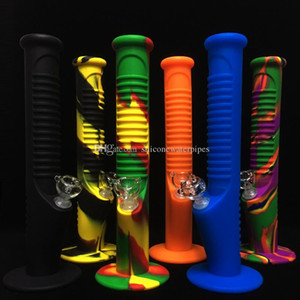 Silicone bong Unbreakable Bong 14 polegadas bongs água tubulação de água 13 cores de vidro com 14 milímetros Dowstem Conjunta e transporte livre tigela de vidro