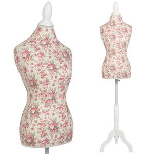 Maniquí femenino vestido Torso forma de la pantalla W / blanco del soporte del trípode del estampado de flores