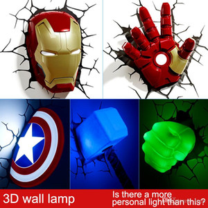 Vingadores da Marvel LED cabeceira quarto sala de estar lâmpada de parede criativo 3D decorada com luz noturna luz