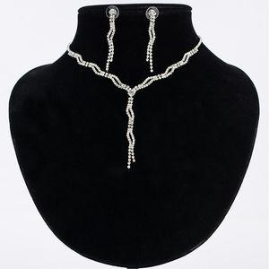 Кристалл капли воды свадебные ювелирные наборы для женщин серебряный цвет ожерелье серьги набор горный хрусталь ювелирные изделия