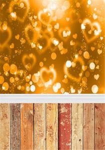 황금 물방울 점 배경 나무 널빤지 바닥 발렌타인 신생아 부스 바탕 화면 Love Heart Bokeh Photography Backdrop