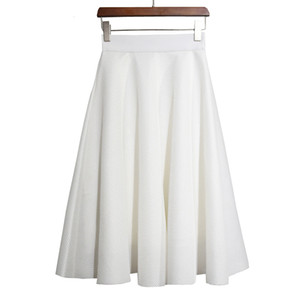 Sherhure 2017 Design De Mode Vintage Taille Haute Pure Color Jupes Plissées Femmes Jupes Midi Noir Blanc Faldas Saia Jupe Longue