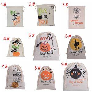 Nuovi 11 disegni Halloween Borse di tela di grandi dimensioni Borsa con cordino di cotone con zucca, diavolo, ragno, regali sacchi regali di Halloween