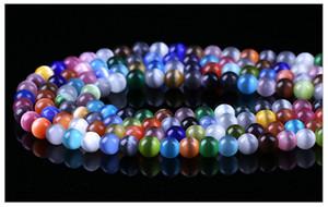 Sıcak Satış 7 Boyutları Renkli Kedi Göz Gevşek Yuvarlak Cam Boncuk Dize Kolye Bilezik DIY Takı Yapımı Için