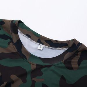T-shirt de sport en plein air collants fitness vêtements hommes court - vêtements de camouflage sueur sueur sueur sec