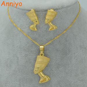 Orecchini della collana del pendente di Nefertiti della regina egiziana di Anniyo mette i monili in oro all'ingrosso all'ingrosso di colore dell'oro dei monili # 010006