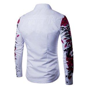 Мужская мода с длинным рукавом 2018 хлопок Casua Button-up Slim Fit цветочный принт рубашка отворот топ