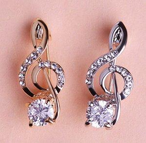 Wholesale- nette kleine CZ-Diamant Zircon Music Note Brosche Corsage Coroa Poster Broches Hochzeit Kragen Hijab Pin Up Clip Schal Lot Großhandel