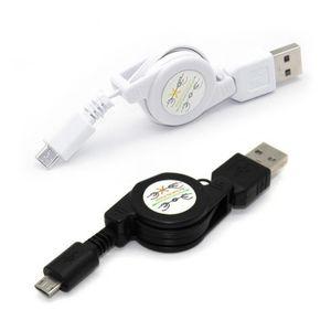 Einziehbare micro usb kabel ladegerät kabel daten cabo schwarz weiß handy zubehör für smartphone galaxy s6 s5 s4 blackberry nokia x1