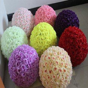 Kissing Balls 6 ~ 24 pollici (15 ~ 60 cm) Wedding Silk Pomander Flower Ball stili di crittografia artificiale per la decorazione domestica di cerimonia nuziale