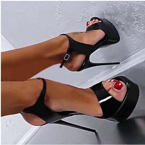 2017 New Verão Sexy Mulheres Nightclub Salto Alto Sandálias 16cm Moda Stripper sapatos partido Bombas Sapatos Mulheres Platform Sandals tamanho 35-40