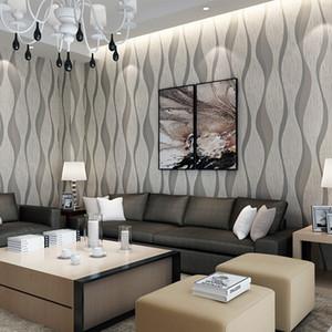 European Simple Wave ripple Strip 3D Non woven Embossed Wallpaper Home Decor Vinyl Mural Wallpaper For TV Background Living Room