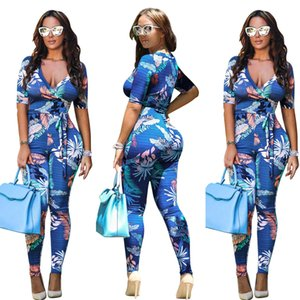 New Women's Sexy Casual Floral Print Slim Club Bandage Jumpsuits Deep V-neck Half Sleeve Bowknot Long Straight Pants Bright Blue Size S-XL