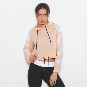 Pink Letter Prints Women Yoga Hoddie Navel Strappy Adjustable Female Sweatshirt Drawstring Long Sleeves Thin Spring Fitness Pullover