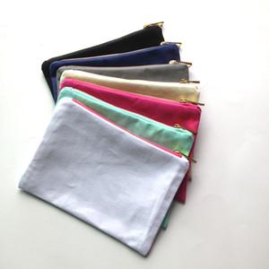 35 unids / lote bolso de maquillaje de lona de color sólido con oro zip forro de oro 6 * 9in bolso de cosméticos para DIY imprimir negro / blanco / gris / rosa / azul marino / color menta