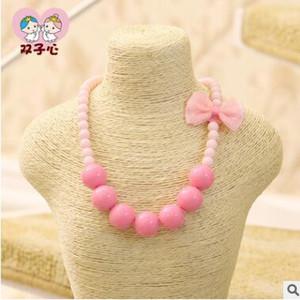 colares crianças frisado bowknot doces cor princesa colares curtos para crianças meninas jóias presentes de aniversário festa de pacotes individuais