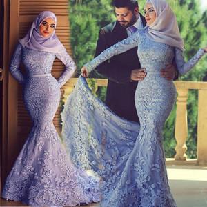 Saidmhamad Suudi Arabistan Dantel Aplike Tesettür Balo Elbise ile Müslüman Mermaid Uzun Kollu Mor Eveing Kıyafeti