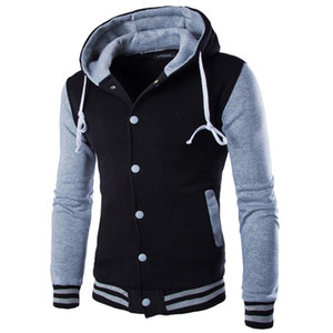All'ingrosso-New Jacket Uomo Veste Homme 2016 Fashion Design con cappuccio Mens Slim Fit Giacca da baseball college Casual di marca Bomber Varsity Jacket