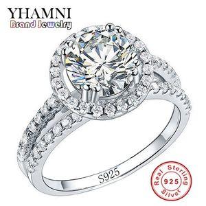 YHAMNI Anillo de Joyería de Moda Tiene S925 Sello Real 925 Anillo de Plata Esterlina Set 2 Carat CZ Anillos de Bodas de Diamante para Mujeres 510