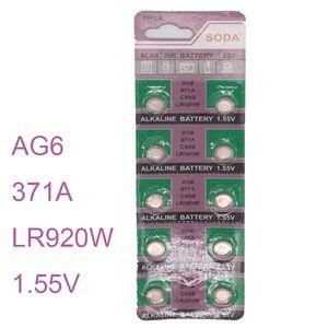Venda por atacado- 10pcs / set Assista Batterie AG6 SR920SW SR69 SG6 371 Botão Celular Baterias Alcalinas Homens Senhoras Childre Relógios Bateria