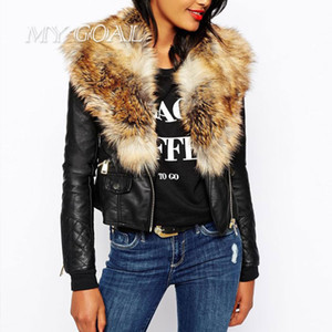 Wholesale- Winter Warm Women Basic Jackets Coats Fashion Faux PU Leather Slim Overwear Female Long Sleeve Artificial Fur Collar jacket Coat