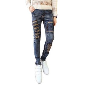 En gros livraison gratuite Mens Skinny Jeans Élastique Déchiré Denim Jeans Hommes Vintage Lavé Distressed Jeans Pour Hommes