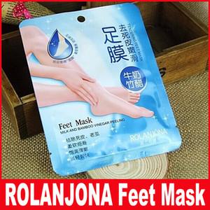 Rolanjona Feet Mask Leche y Bambú Vinagre Pies Máscara Peeling Piel Exfoliante Dry Dead Skin Remover Pies cuidado